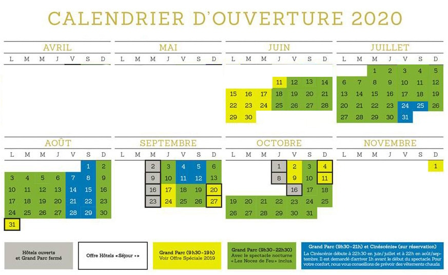 calendrier d'ouverture Puy du Fou été 2020 actualisé après coronavirus