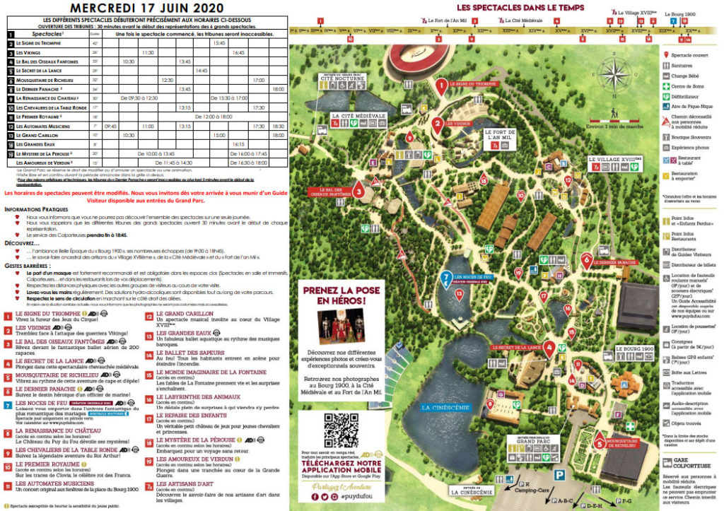 programme détaillé du Parc pour 2020