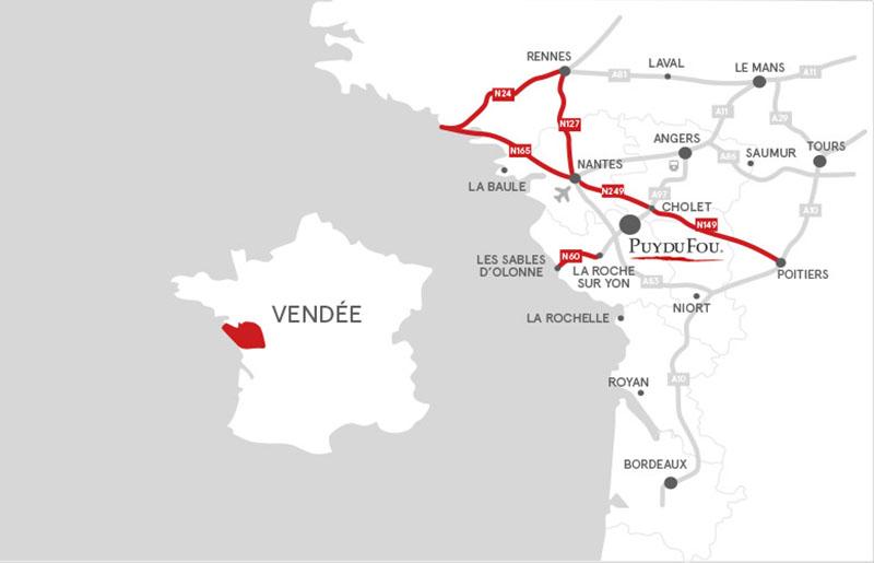 plan du trajet pour aller à l'aire de camping car du Puy du Fou